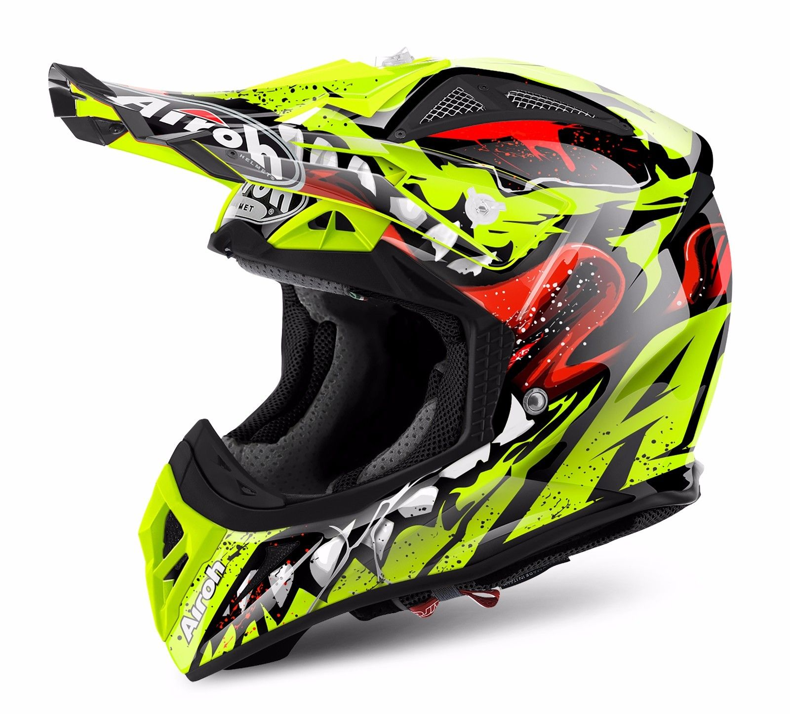 airoh aviator 2 2 grim yellow motocross mx helmet matt gardiner motocross. Black Bedroom Furniture Sets. Home Design Ideas