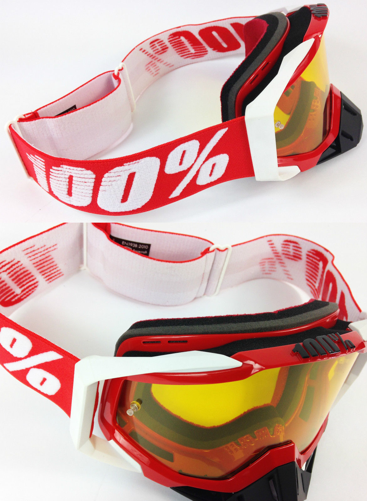 100/% PERCENT RACECRAFT MOTOCROSS GOGGLES FIRE RED with GSVS ROLL OFF SYSTEM