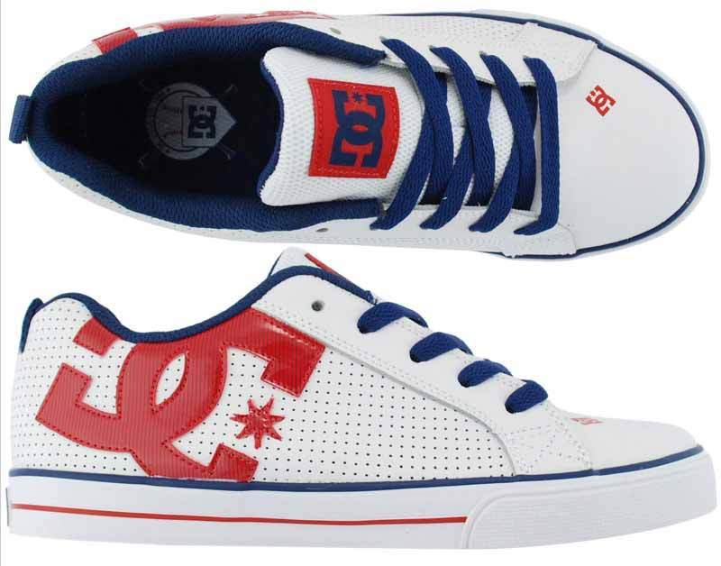 44e2839c062  KIDS DC SHOES YOUTH COURT GRAFFIK RHB RED BLUE WHITE childs boys skate  trainers