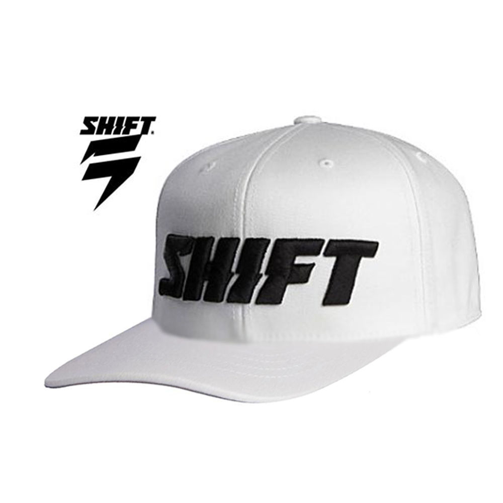 d3285245a15  SHIFT RACING WORD 210 FLEX FIT CAP hat FITTED curved bill motocross white  black
