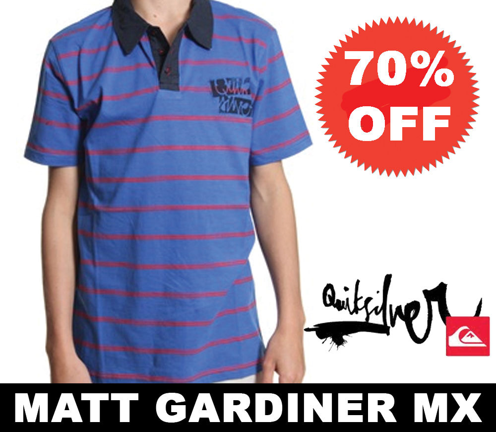 327e79ee0d6  Quiksilver Boys   Childrens Polo Shirt Blue Jay Age 8 10 12 14 16 70% OFF  YOUTH