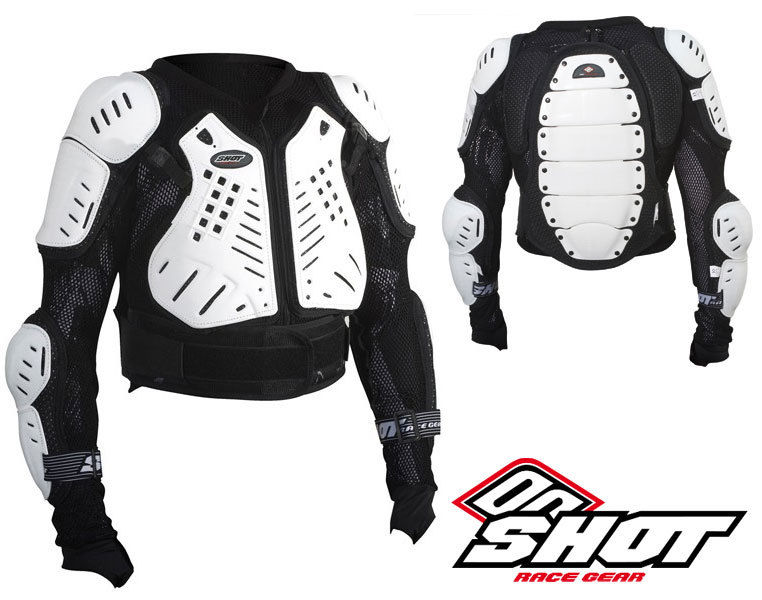 'SHOT ANATOMIC MOTOCROSS MX PRESSURE SUIT jacket body armour WHITE bike  ADULT'