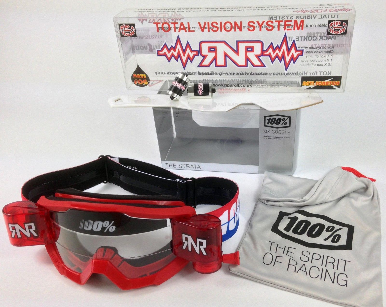 RNR Rip N Roll TVS Roll Off System to fit Fox Main Motocross Goggles