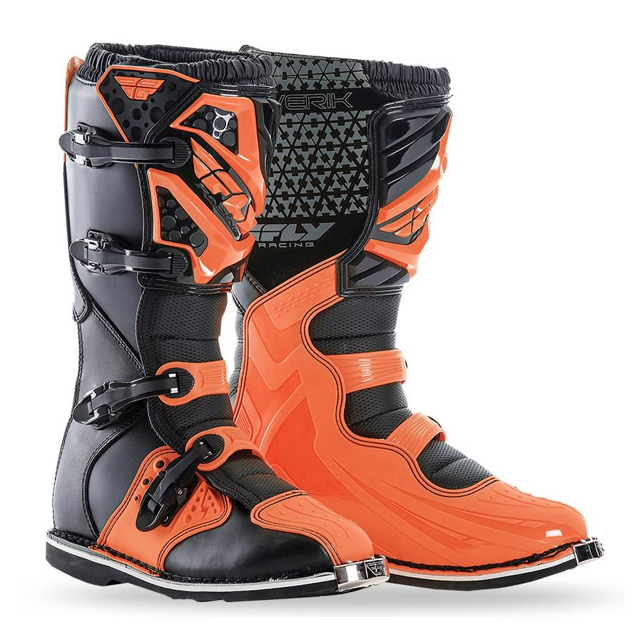 Mx Knee Braces >> FLY RACING MAVERIK MOTOCROSS BOOTS - BLACK / FLO ORANGE ...