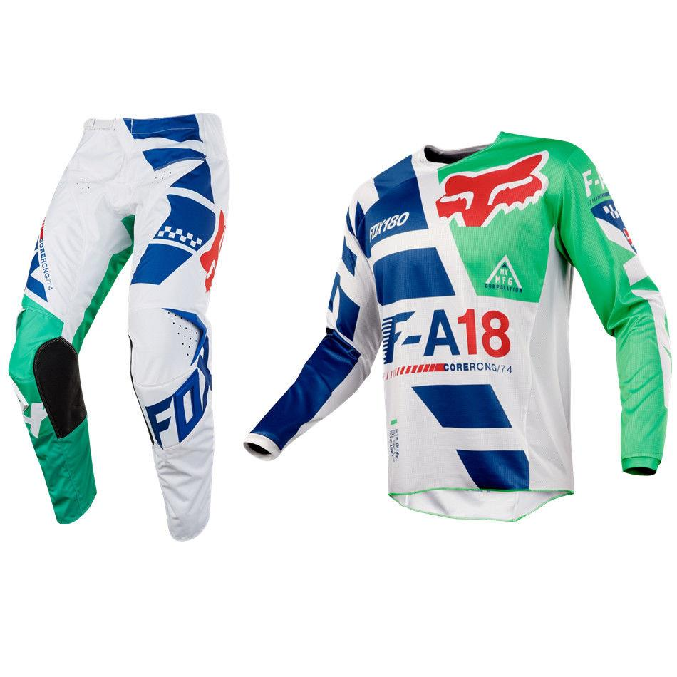 b1a7a3c9132 YOUTH FOX RACING 180 MOTOCROSS MX KIT PANTS JERSEY - SAYAK GREEN ...
