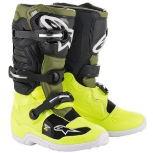 ALPINESTAR TECH 7S YOUTH MOTOCROSS MX BOOTS YELLOW FLOU / MILITARY GREEN / BLACK