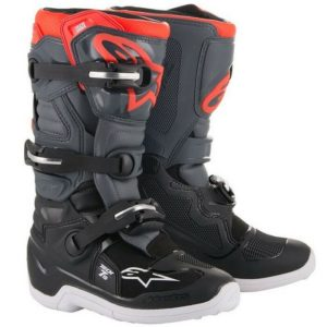 ALPINESTAR TECH 7S YOUTH MOTOCROSS MX BOOTS BLACK / DARK GREY / RED FLOU kids