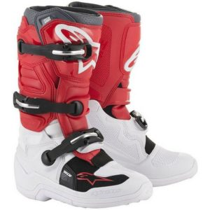 ALPINESTAR TECH 7S YOUTH MOTOCROSS MX BOOTS WHITE / RED / GREY kids