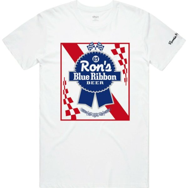 Ronnie Mac Blue Ribbon Beer Premium T-Shirt White - official licensed motocross