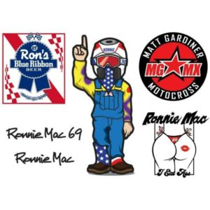 Ronnie Mac Sticker Sheet A5 (148mm x 210mm ) x6 motocross vinyl stickers MGMX