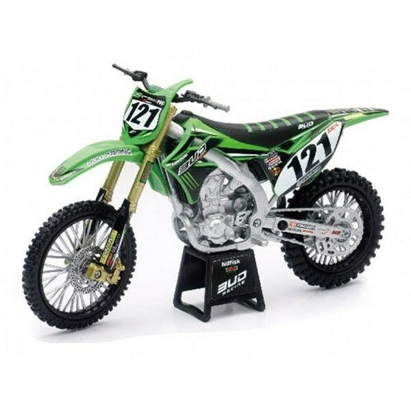 BUD RACING BOOG TEAM KAWASAKI KXF 450 - 1:12 DIE-CAST TOY MOTOCROSS BIKE NEW-RAY