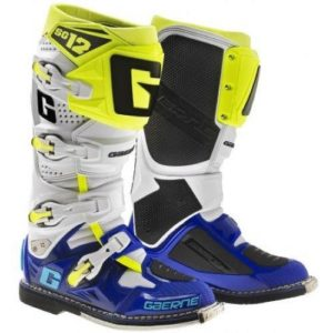 GAERNE SG12 MOTOCROSS ENDURO MX BOOTS - WHITE / BLUE / YELLOW FLOU