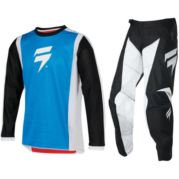 2020 YOUTH SHIFT MOTOCROSS KIT PANTS JERSEY WHIT3 LABEL - BLACK WHITE RED BLUE