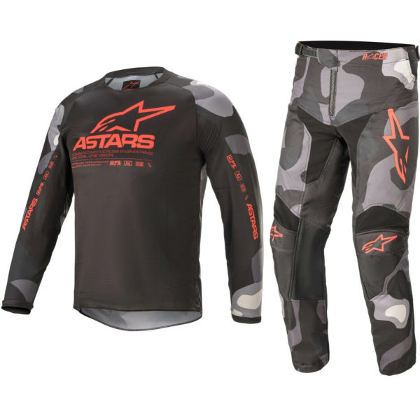 ALPINESTARS YOUTH MOTOCROSS KIT PANTS JERSEY - RACER TACTICAL GREY CAMO RED FLUO