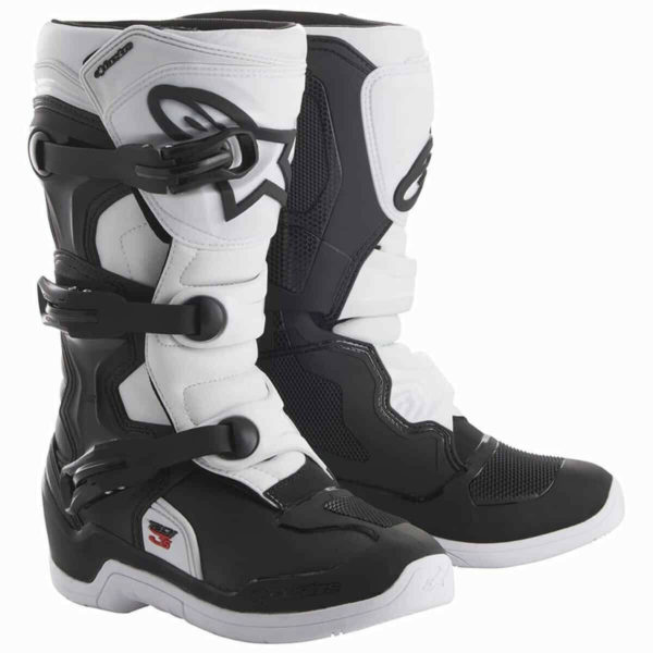 ALPINESTAR TECH 3S YOUTH MOTOCROSS MX BIKE BOOTS BLACK / WHITE