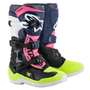 ALPINESTAR TECH 3S YOUTH MOTOCROSS MX BOOTS BLACK / DARK BLUE / PINK FLOURESCENT
