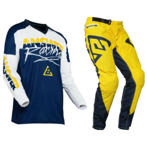 YOUTH ANSWER SYNCRON MOTOCROSS PANTS JERSEY – PRO GLO YELLOW / MIDNIGHT / WHITE