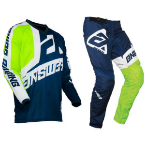 YOUTH ANSWER SYNCRON MOTOCROSS PANTS JERSEY – VOYD MIDNIGHT / HYPER ACID / WHITE